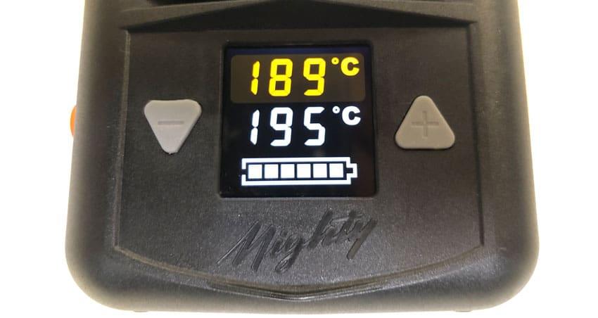 Die Temperaturanzeige vom Mighty Vaporizer